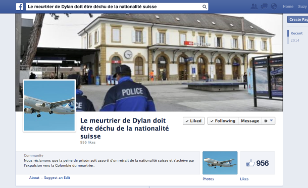 page facebook meurtrier dylan yverdon