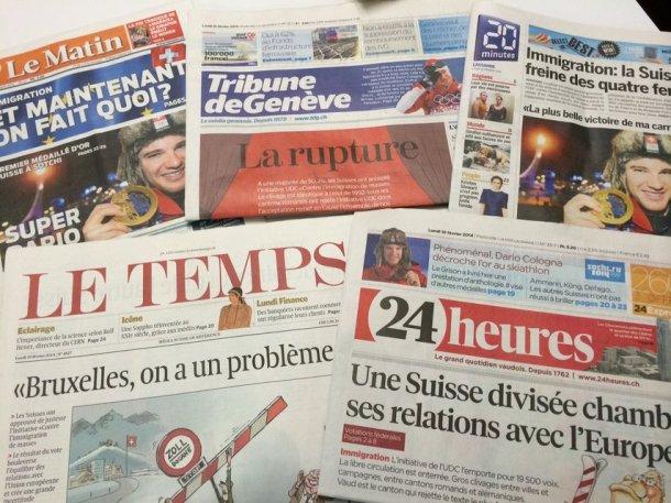 Après le «oui» à l'initiative de l'UDC «Contre l'immigration de masse» dimanche, la presse romande souligne le clivage entre deux Suisse et s'interroge sur les défis à venir.