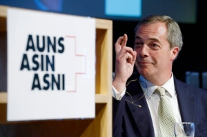 UKIP chairman Farage at Swiss ASIN meeting