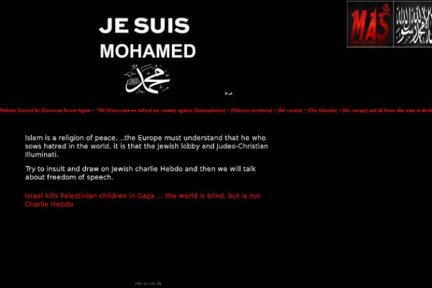 site internet page défacée cyberdjihadistes