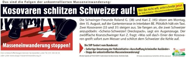 kosovaren schlitzen Schweizer auf UDC